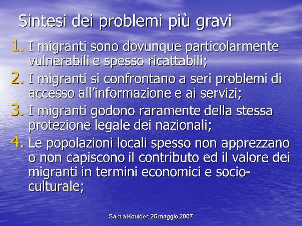 Samia Kouider. 25 maggio 2007 Sintesi dei problemi più gravi 1. I migranti sono dovunque particolarmente vulnerabili e spesso ricattabili; 2. I migran