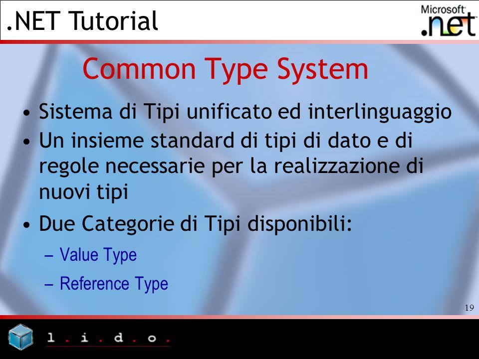 .NET Tutorial 19 Common Type System Sistema di Tipi unificato ed interlinguaggio Un insieme standard di tipi di dato e di regole necessarie per la rea