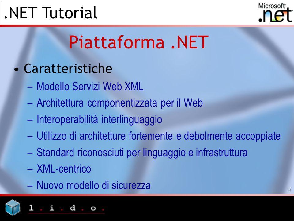 .NET Tutorial 3 Piattaforma.NET Caratteristiche –Modello Servizi Web XML –Architettura componentizzata per il Web –Interoperabilità interlinguaggio –U