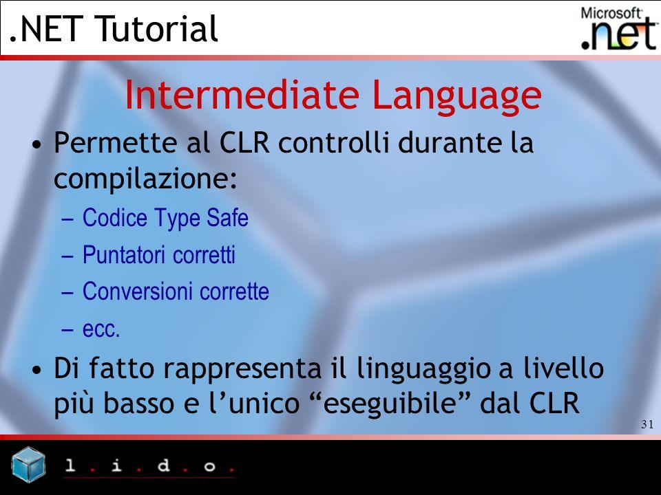 .NET Tutorial 31 Intermediate Language Permette al CLR controlli durante la compilazione: –Codice Type Safe –Puntatori corretti –Conversioni corrette