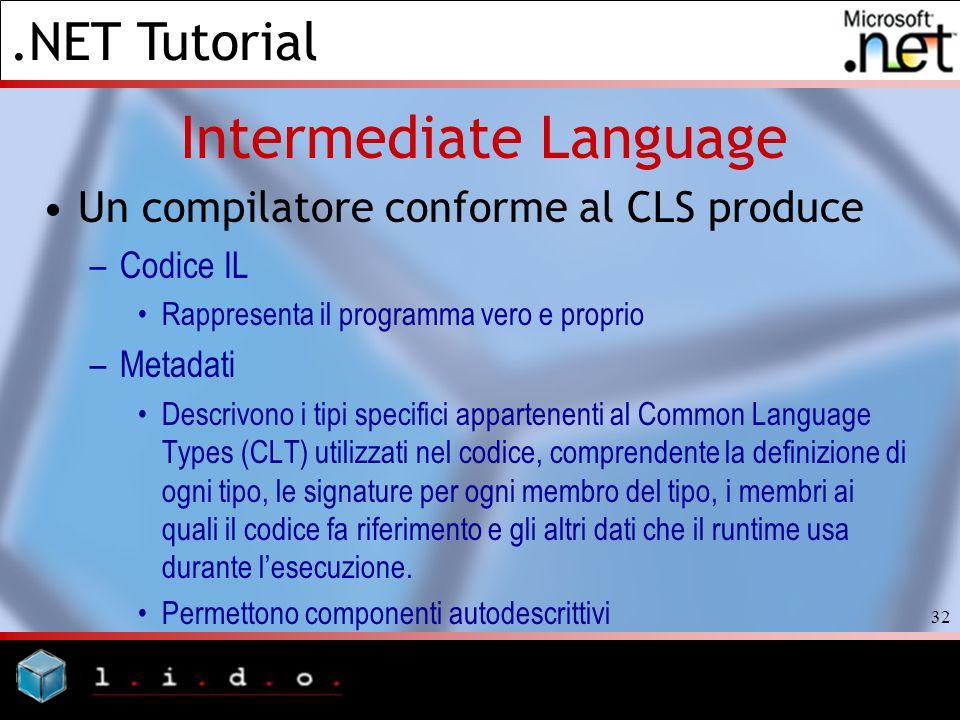 .NET Tutorial 32 Intermediate Language Un compilatore conforme al CLS produce –Codice IL Rappresenta il programma vero e proprio –Metadati Descrivono
