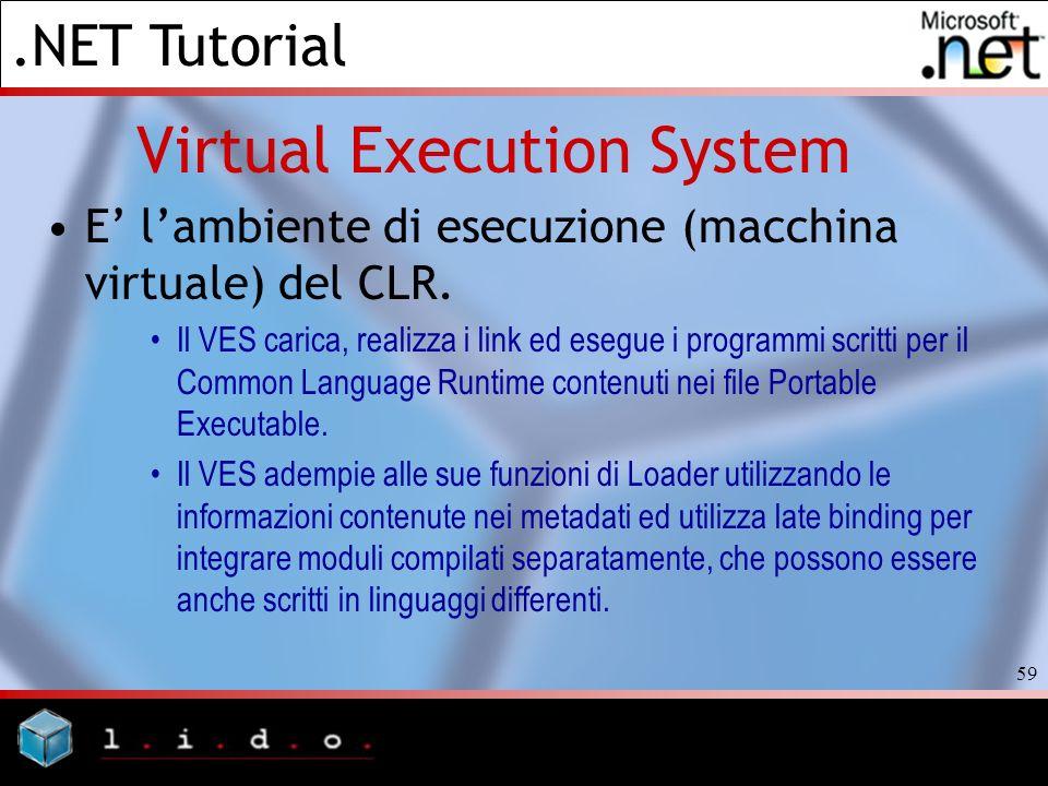 .NET Tutorial 59 Virtual Execution System E lambiente di esecuzione (macchina virtuale) del CLR. Il VES carica, realizza i link ed esegue i programmi