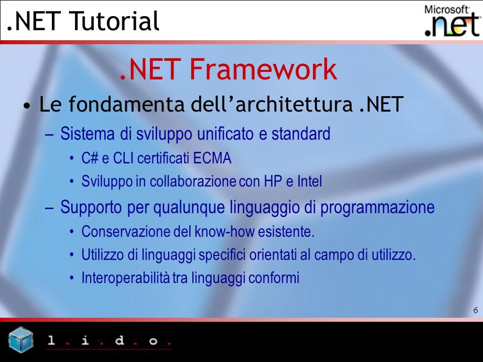.NET Tutorial 6.NET Framework Le fondamenta dellarchitettura.NET –Sistema di sviluppo unificato e standard C# e CLI certificati ECMA Sviluppo in colla