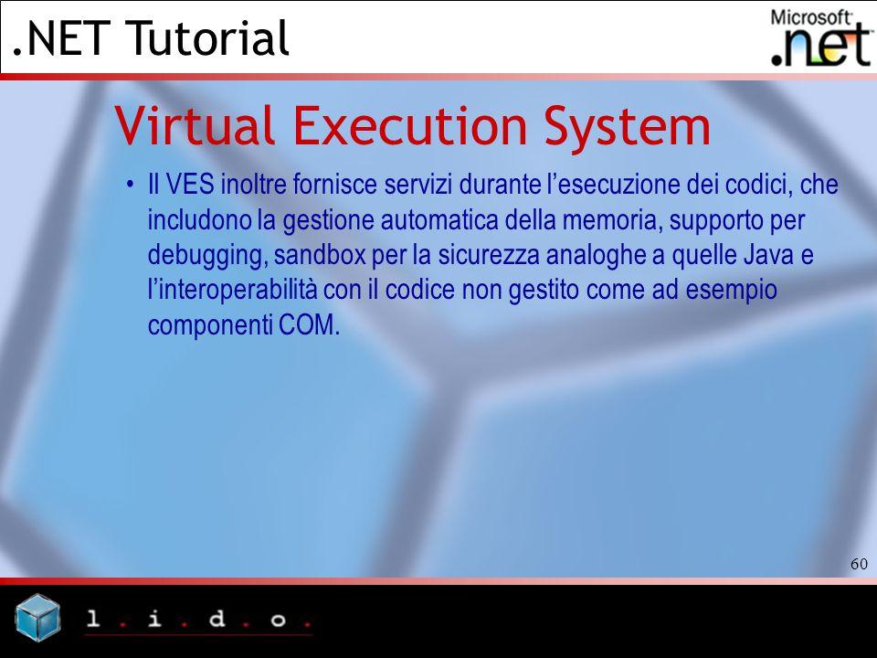.NET Tutorial 60 Virtual Execution System Il VES inoltre fornisce servizi durante lesecuzione dei codici, che includono la gestione automatica della m