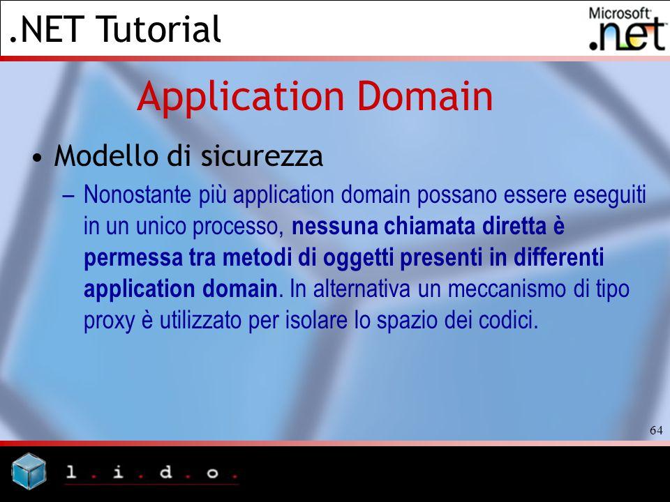 .NET Tutorial 64 Application Domain Modello di sicurezza –Nonostante più application domain possano essere eseguiti in un unico processo, nessuna chia