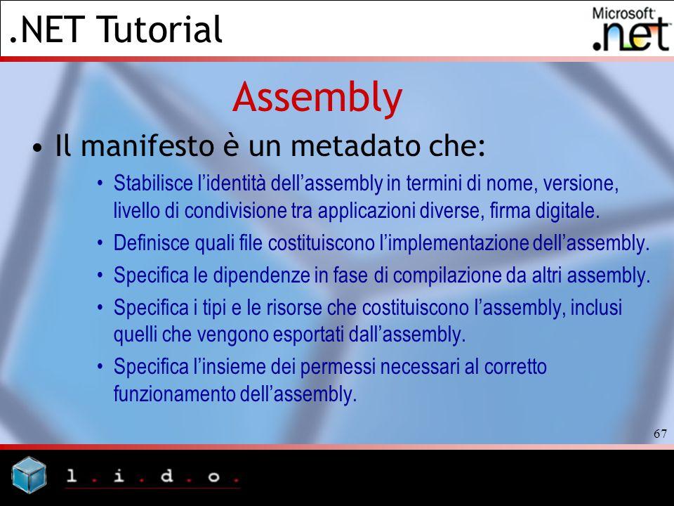 .NET Tutorial 67 Assembly Il manifesto è un metadato che: Stabilisce lidentità dellassembly in termini di nome, versione, livello di condivisione tra