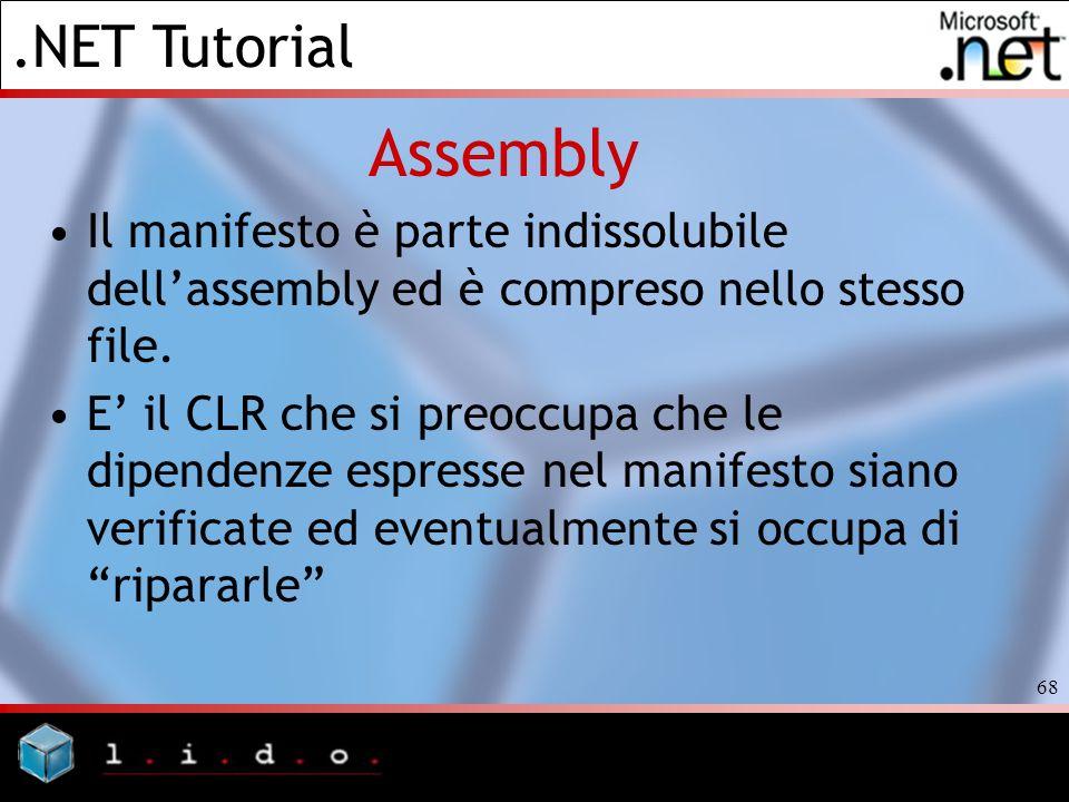 .NET Tutorial 68 Assembly Il manifesto è parte indissolubile dellassembly ed è compreso nello stesso file. E il CLR che si preoccupa che le dipendenze