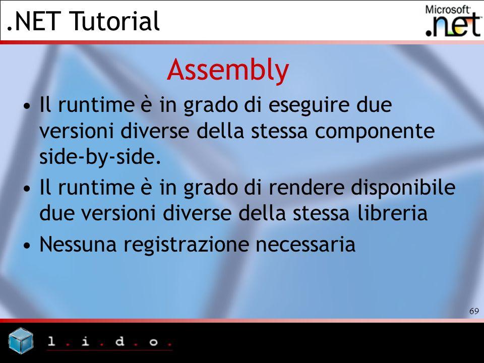 .NET Tutorial 69 Assembly Il runtime è in grado di eseguire due versioni diverse della stessa componente side-by-side. Il runtime è in grado di render