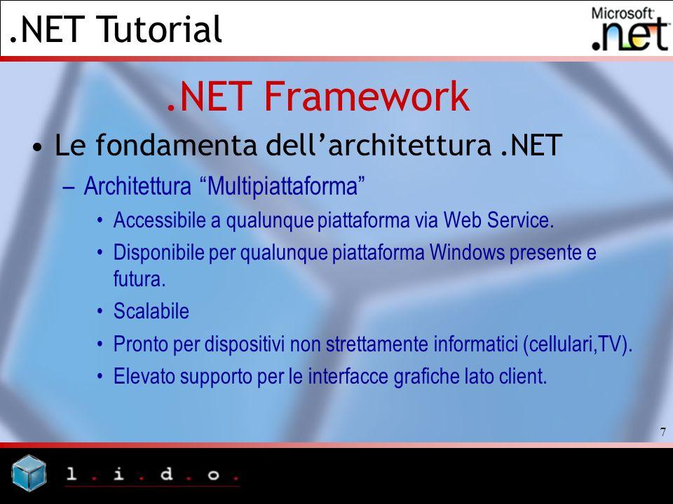 .NET Tutorial 7.NET Framework Le fondamenta dellarchitettura.NET –Architettura Multipiattaforma Accessibile a qualunque piattaforma via Web Service. D