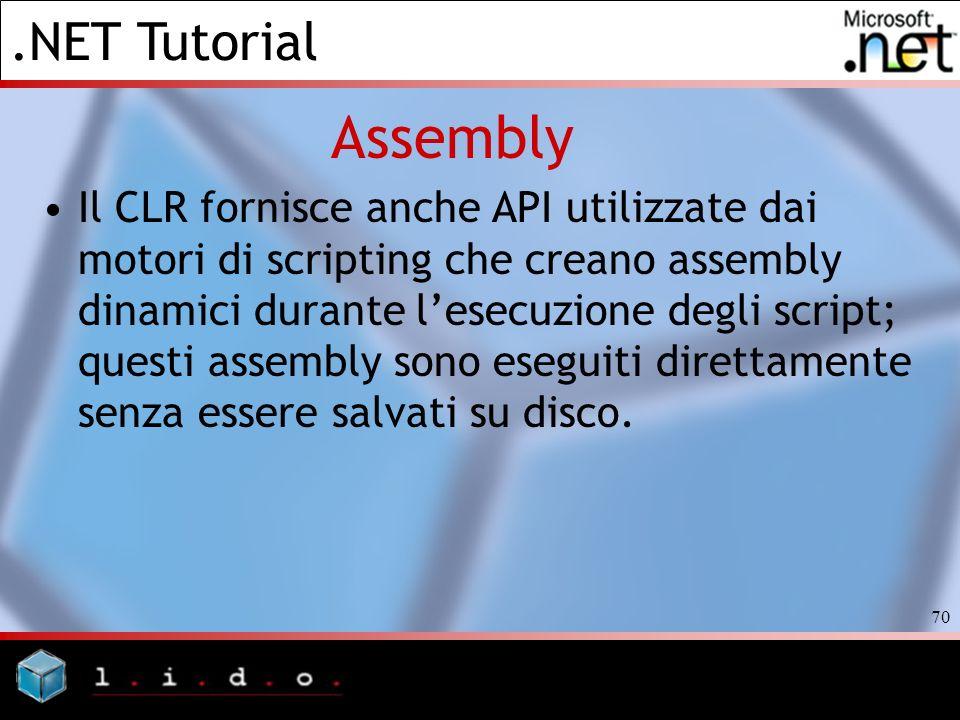 .NET Tutorial 70 Assembly Il CLR fornisce anche API utilizzate dai motori di scripting che creano assembly dinamici durante lesecuzione degli script;