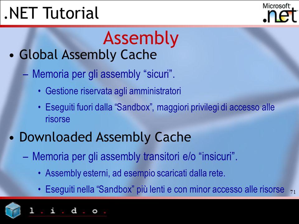 .NET Tutorial 71 Assembly Global Assembly Cache –Memoria per gli assembly sicuri. Gestione riservata agli amministratori Eseguiti fuori dalla Sandbox,