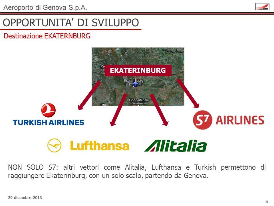 Aeroporto di Genova S.p.A. 29 dicembre 2013 OPPORTUNITA DI SVILUPPO Destinazione EKATERNBURG 8 EKATERINBURG NON SOLO S7: altri vettori come Alitalia,