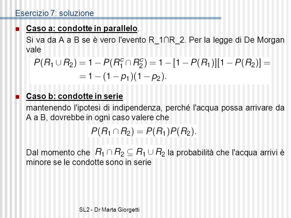 SL2 - Dr Marta Giorgetti Esercizio 7: soluzione Caso a: condotte in parallelo. Si va da A a B se è vero l'evento R_1R_2. Per la legge di De Morgan val