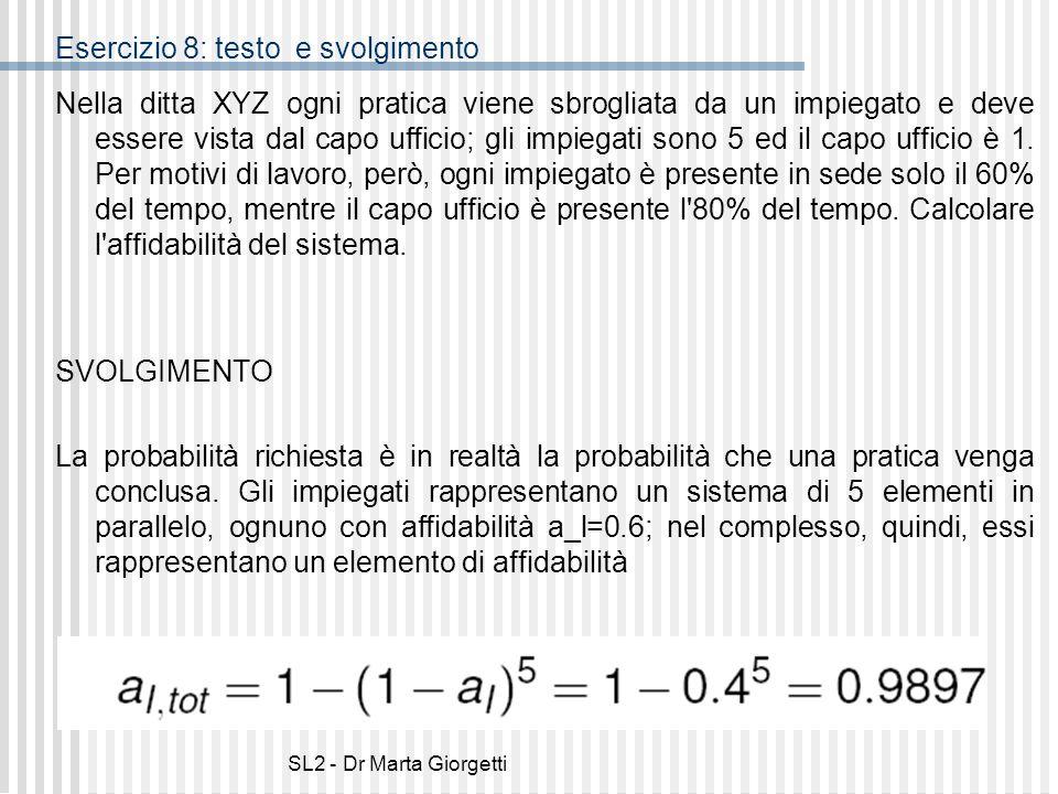 SL2 - Dr Marta Giorgetti Esercizio 8: testo e svolgimento Nella ditta XYZ ogni pratica viene sbrogliata da un impiegato e deve essere vista dal capo u