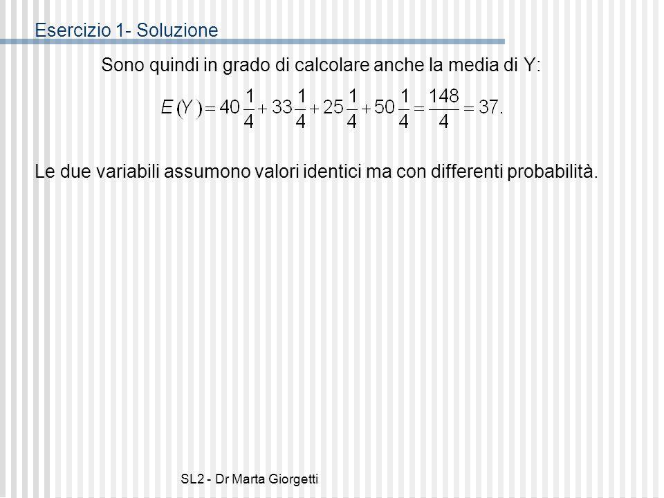 SL2 - Dr Marta Giorgetti Esercizio 1- Soluzione Sono quindi in grado di calcolare anche la media di Y: Le due variabili assumono valori identici ma co