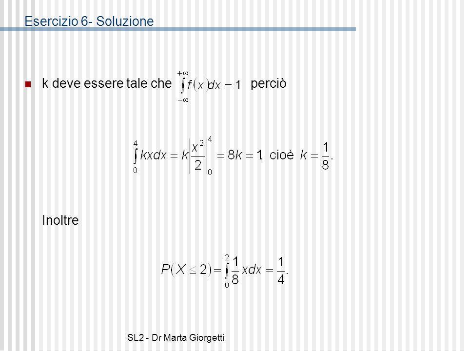SL2 - Dr Marta Giorgetti Esercizio 6- Soluzione k deve essere tale che perciò Inoltre