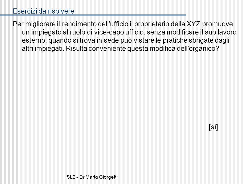 SL2 - Dr Marta Giorgetti Esercizi da risolvere Per migliorare il rendimento dell'ufficio il proprietario della XYZ promuove un impiegato al ruolo di v