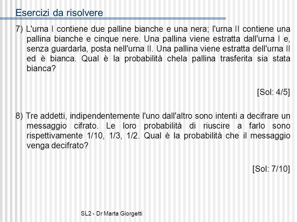SL2 - Dr Marta Giorgetti Esercizi da risolvere 7) L'urna I contiene due palline bianche e una nera; l'urna II contiene una pallina bianche e cinque ne
