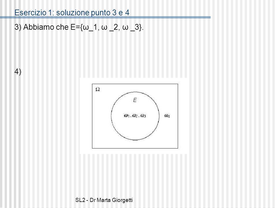 SL2 - Dr Marta Giorgetti Esercizio 1: soluzione punto 3 e 4 3) Abbiamo che E={ω_1, ω _2, ω _3}. 4)