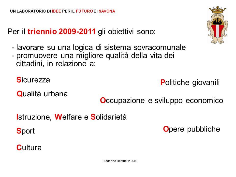 UN LABORATORIO DI IDEE PER IL FUTURO DI SAVONA Per il triennio 2009-2011 gli obiettivi sono: Sicurezza Qualità urbana Istruzione, Welfare e Solidariet