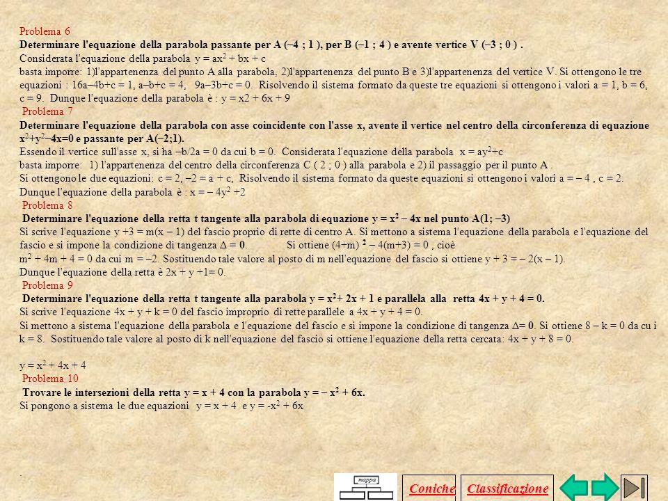 Problema 1 Determinare l'equazione della circonferenza passante per P(–1;0) e Q(0; –1). Osservando la figura, si nota che la circonferenza è tangente
