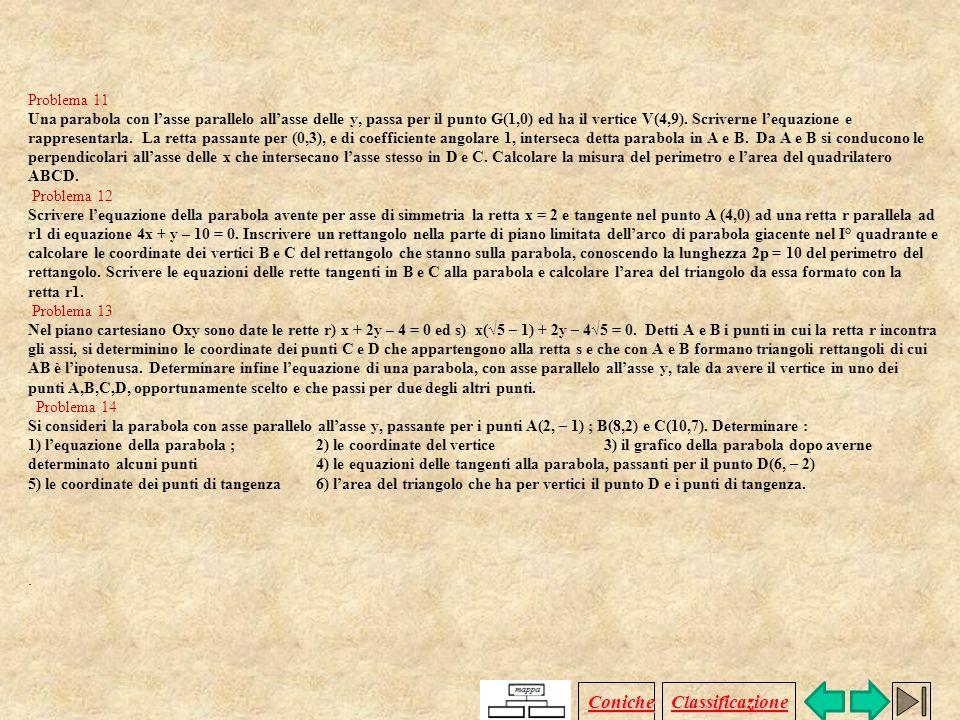 Problema 6 Determinare l'equazione della parabola passante per A (–4 ; 1 ), per B (–1 ; 4 ) e avente vertice V (–3 ; 0 ). Considerata l'equazione dell