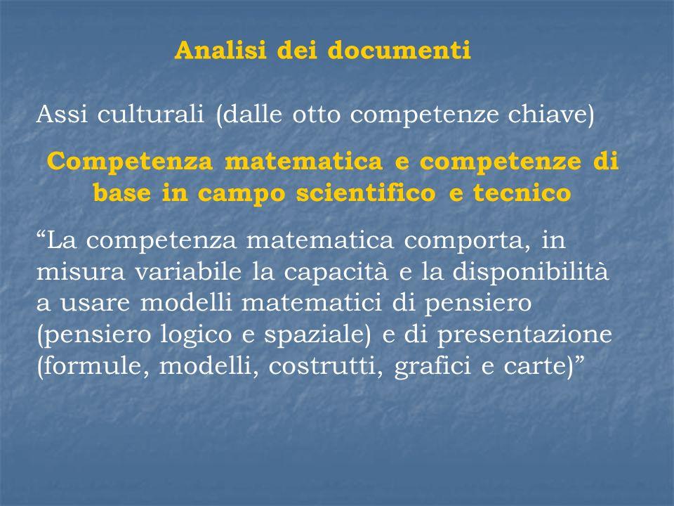 Analisi dei documenti Assi culturali (dalle otto competenze chiave) Competenza matematica e competenze di base in campo scientifico e tecnico La compe