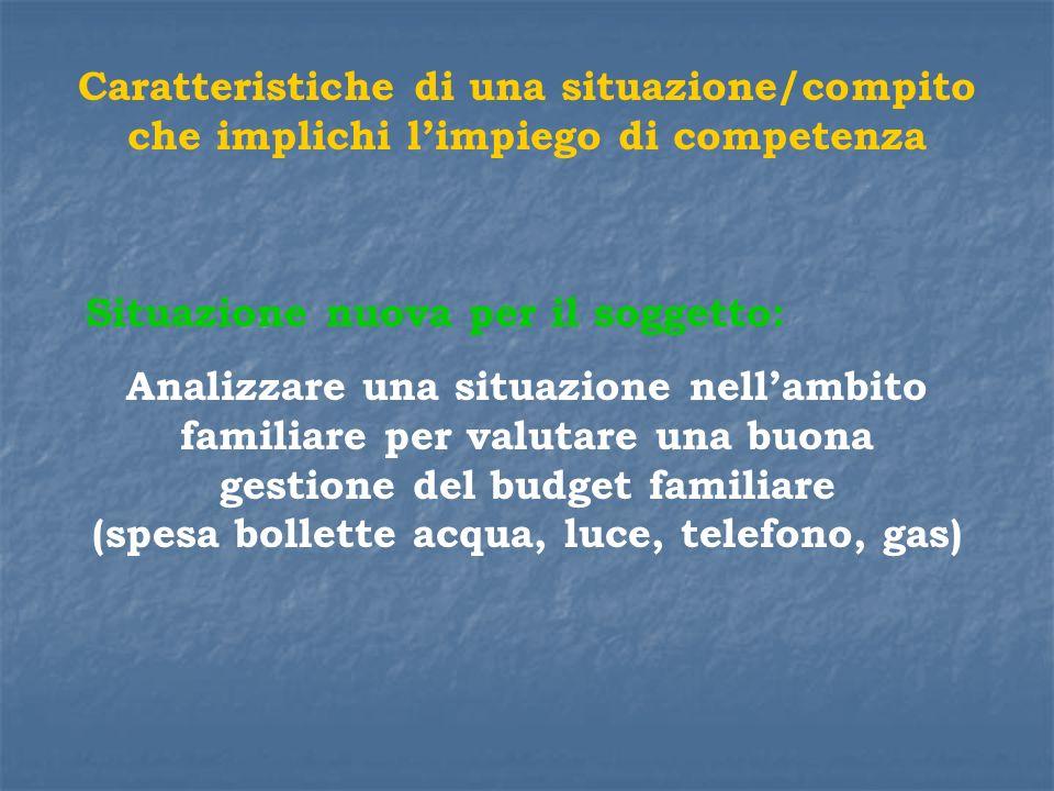 Caratteristiche di una situazione/compito che implichi limpiego di competenza Situazione nuova per il soggetto: Analizzare una situazione nellambito f