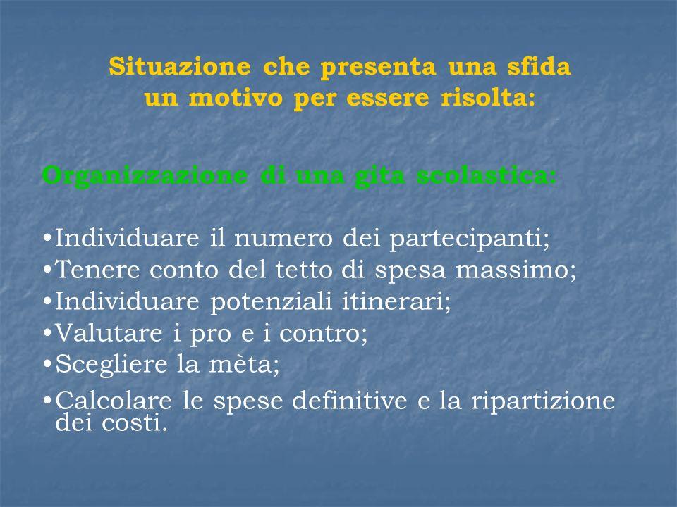 Situazione che presenta una sfida un motivo per essere risolta: Organizzazione di una gita scolastica: Individuare il numero dei partecipanti; Tenere