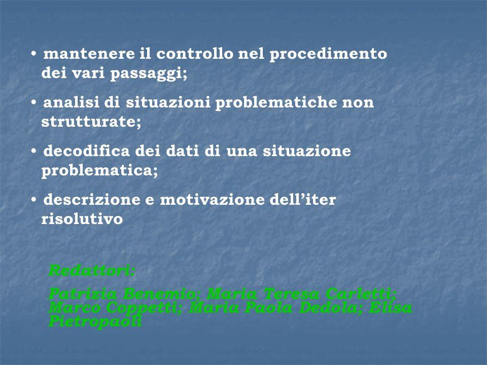 mantenere il controllo nel procedimento dei vari passaggi; analisi di situazioni problematiche non strutturate; decodifica dei dati di una situazione