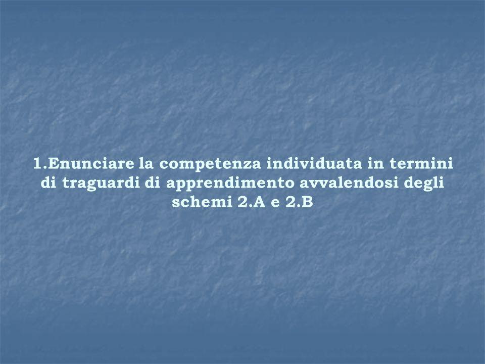 1.Enunciare la competenza individuata in termini di traguardi di apprendimento avvalendosi degli schemi 2.A e 2.B