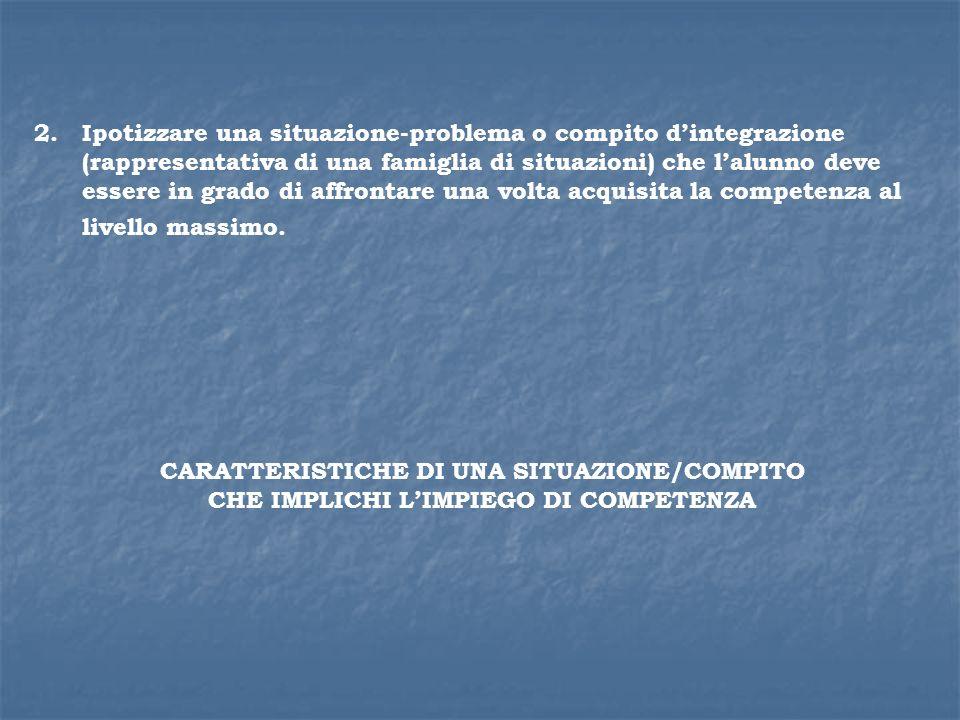 2.Ipotizzare una situazione-problema o compito dintegrazione (rappresentativa di una famiglia di situazioni) che lalunno deve essere in grado di affro