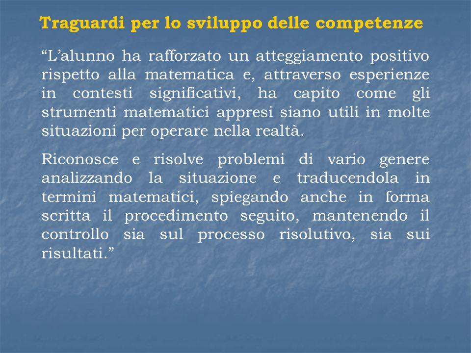 Traguardi per lo sviluppo delle competenze Lalunno ha rafforzato un atteggiamento positivo rispetto alla matematica e, attraverso esperienze in contes