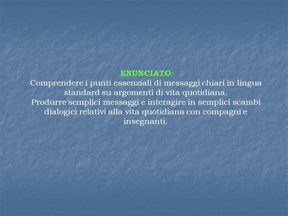 ENUNCIATO Comprendere i punti essenziali di messaggi chiari in lingua standard su argomenti di vita quotidiana. Produrre semplici messaggi e interagir