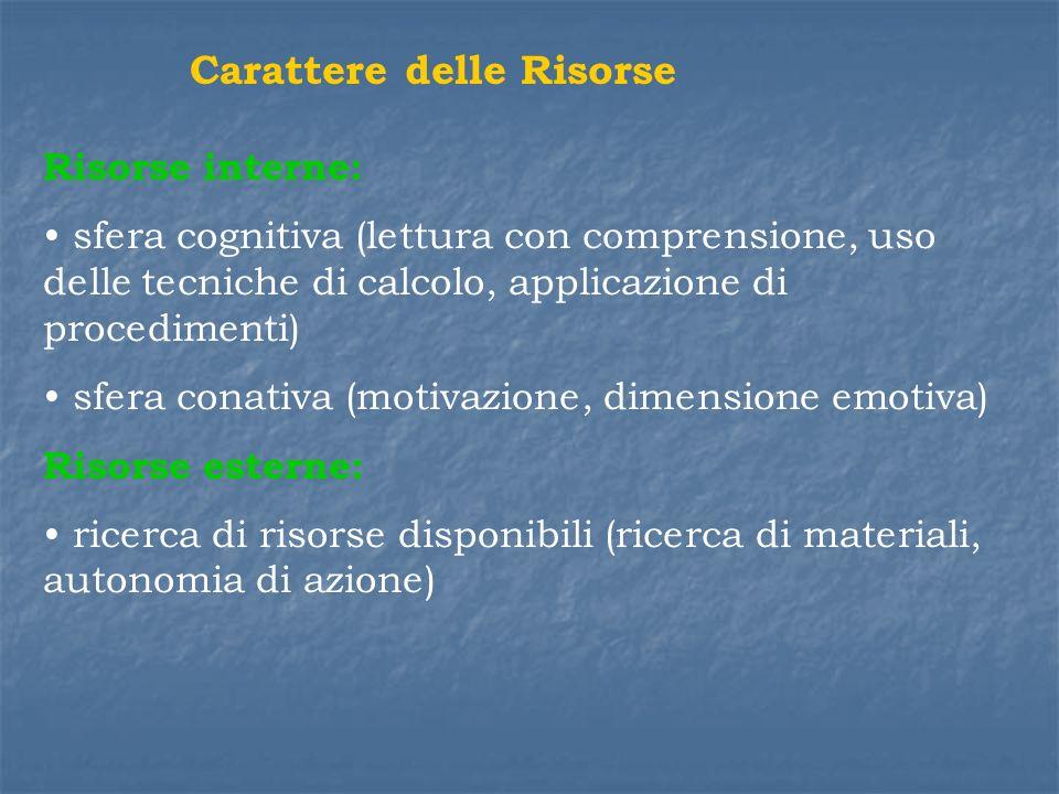 Carattere delle Risorse Risorse interne: sfera cognitiva (lettura con comprensione, uso delle tecniche di calcolo, applicazione di procedimenti) sfera