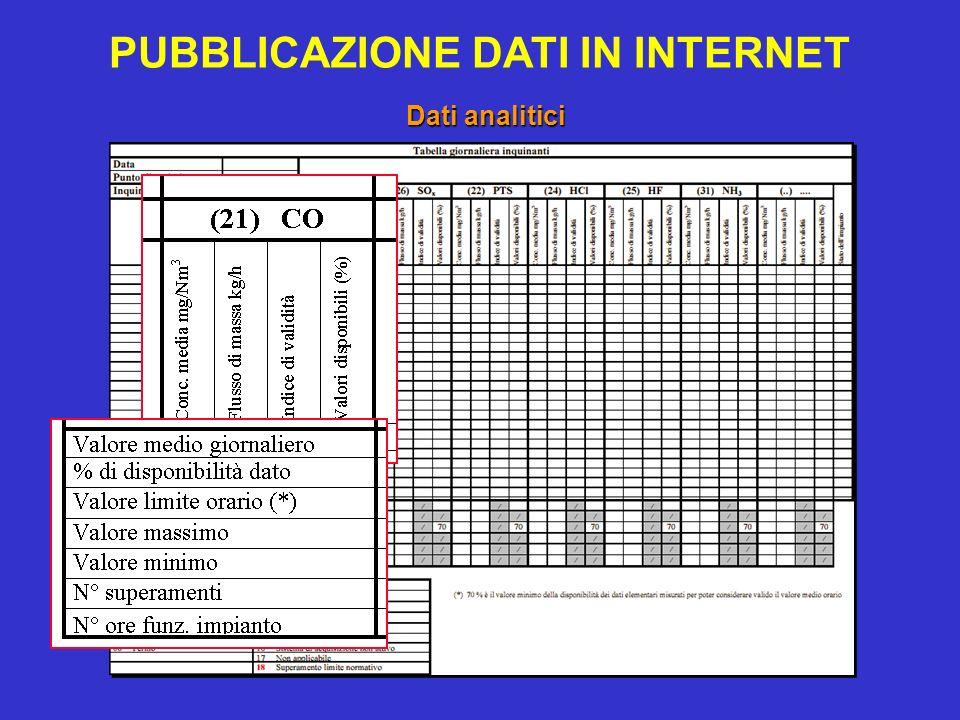 PUBBLICAZIONE DATI IN INTERNET Dati analitici