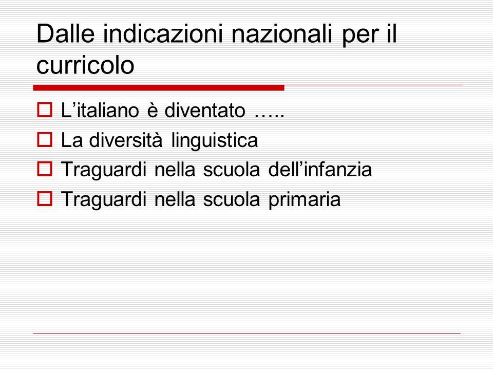 Dalle indicazioni nazionali per il curricolo Litaliano è diventato ….. La diversità linguistica Traguardi nella scuola dellinfanzia Traguardi nella sc