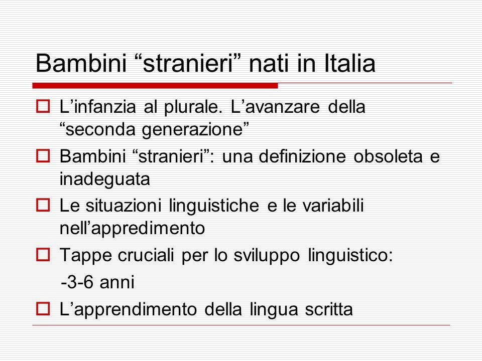 Bambini stranieri nati in Italia Linfanzia al plurale. Lavanzare della seconda generazione Bambini stranieri: una definizione obsoleta e inadeguata Le