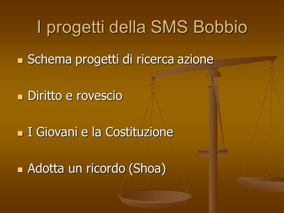 I progetti della SMS Bobbio Schema progetti di ricerca azione Schema progetti di ricerca azione Diritto e rovescio Diritto e rovescio I Giovani e la Costituzione I Giovani e la Costituzione Adotta un ricordo (Shoa) Adotta un ricordo (Shoa)