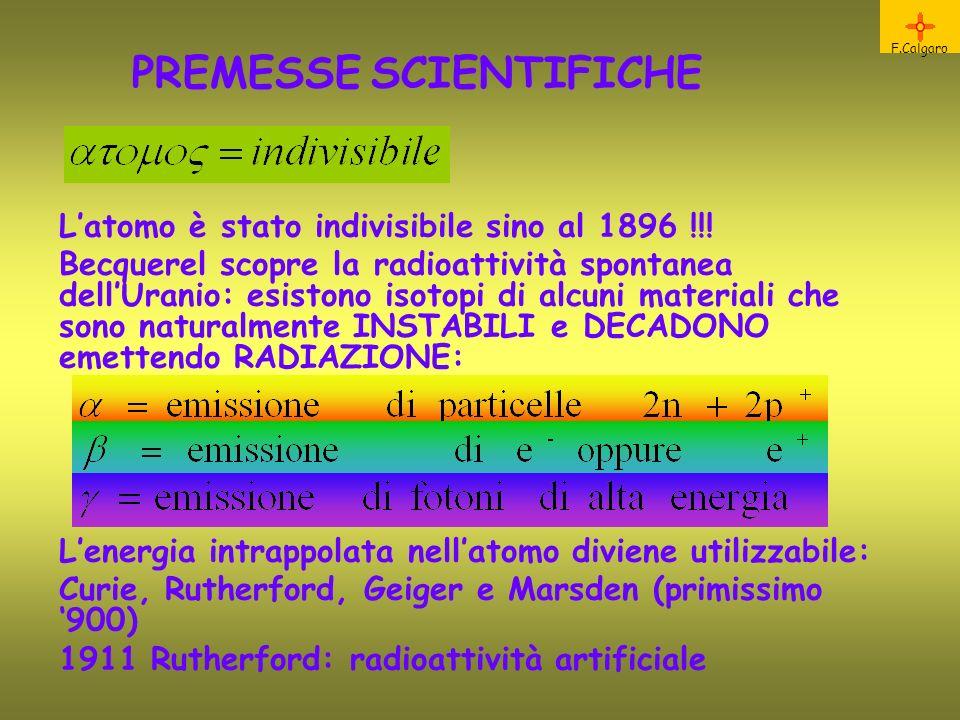 PREMESSE SCIENTIFICHE F.Calgaro Latomo è stato indivisibile sino al 1896 !!! Becquerel scopre la radioattività spontanea dellUranio: esistono isotopi
