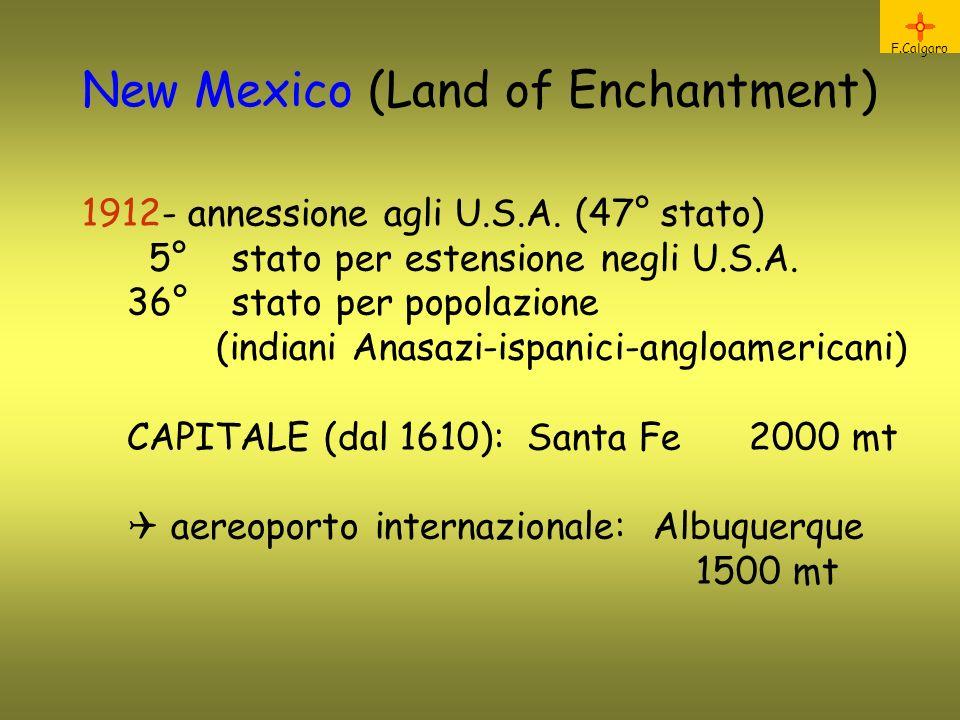 New Mexico (Land of Enchantment) 1912- annessione agli U.S.A. (47° stato) 5° stato per estensione negli U.S.A. 36° stato per popolazione (indiani Anas
