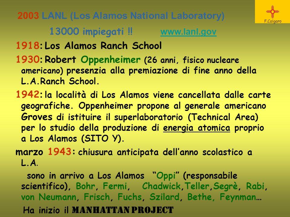 13000 impiegati !! www.lanl.gov www.lanl.gov 1918 : Los Alamos Ranch School 1930 : Robert Oppenheimer (26 anni, fisico nucleare americano) presenzia a