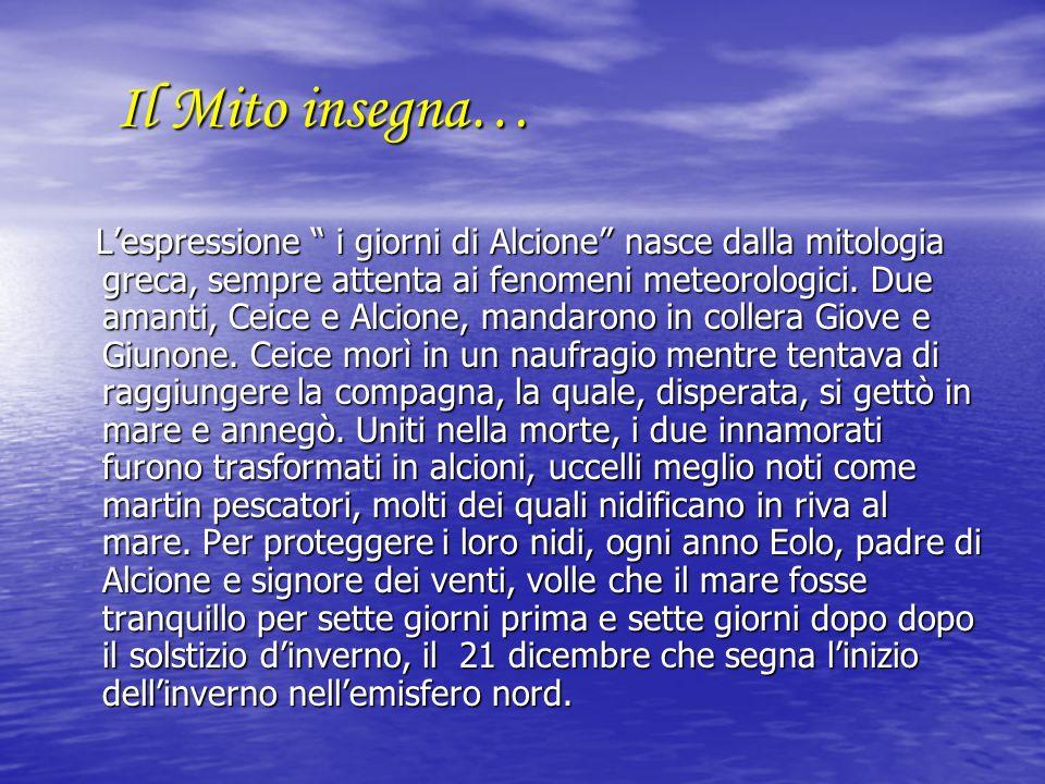 Il Mito insegna… Lespressione i giorni di Alcione nasce dalla mitologia greca, sempre attenta ai fenomeni meteorologici. Due amanti, Ceice e Alcione,