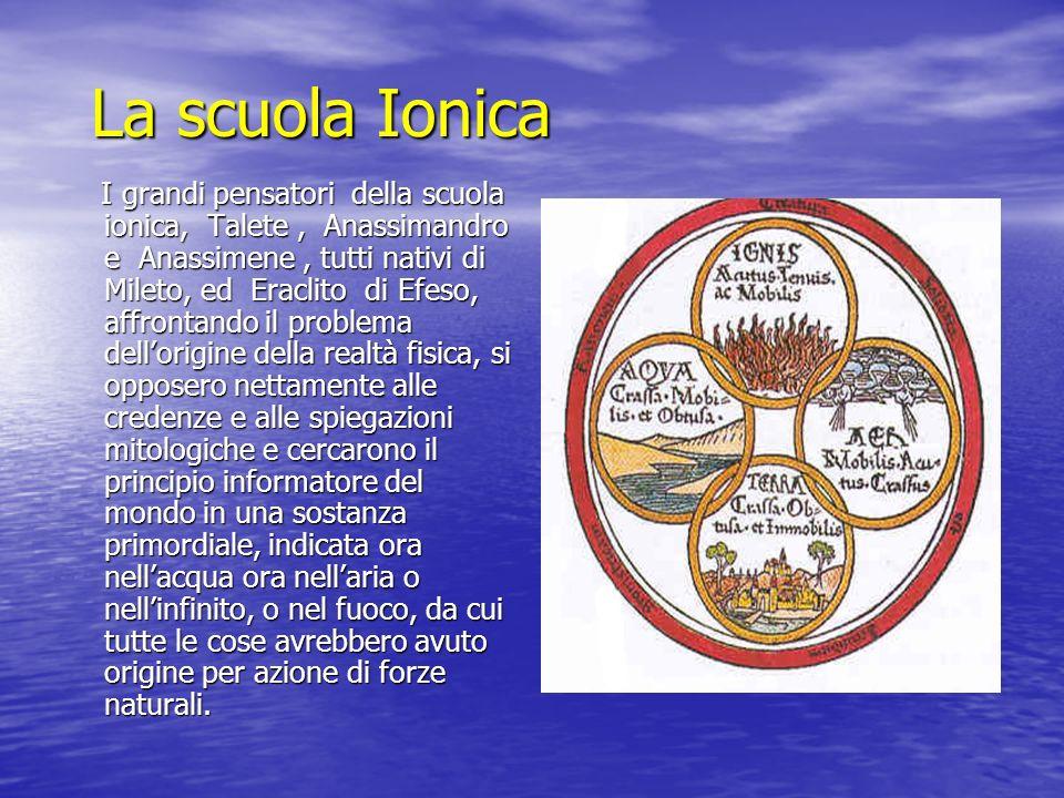 La scuola Ionica I grandi pensatori della scuola ionica, Talete, Anassimandro e Anassimene, tutti nativi di Mileto, ed Eraclito di Efeso, affrontando