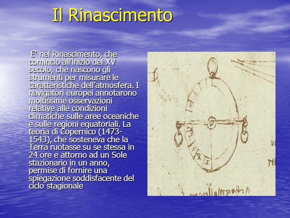 Il Rinascimento E nel Rinascimento, che cominciò all'inizio del XV secolo, che nascono gli strumenti per misurare le caratteristiche dellatmosfera. I