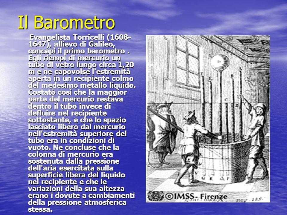 Il Barometro Evangelista Torricelli (1608- 1647), allievo di Galileo, concepì il primo barometro. Egli riempì di mercurio un tubo di vetro lungo circa