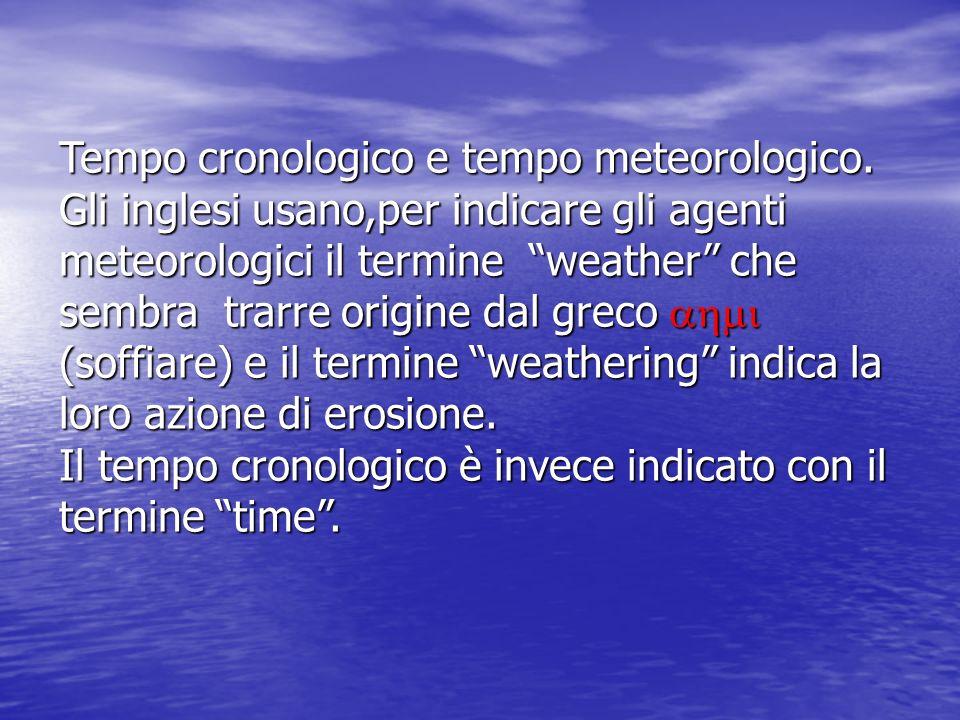 Tempo cronologico e tempo meteorologico. Gli inglesi usano,per indicare gli agenti meteorologici il termine weather che sembra trarre origine dal grec