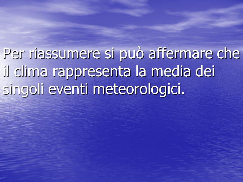 Per riassumere si può affermare che il clima rappresenta la media dei singoli eventi meteorologici.