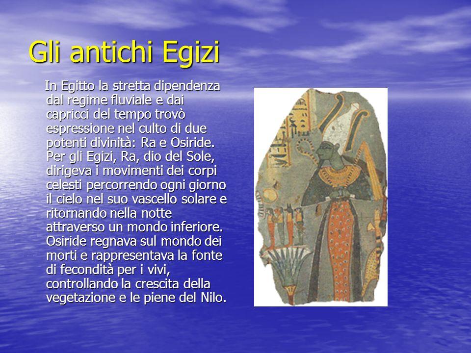 Gli antichi Egizi In Egitto la stretta dipendenza dal regime fluviale e dai capricci del tempo trovò espressione nel culto di due potenti divinità: Ra