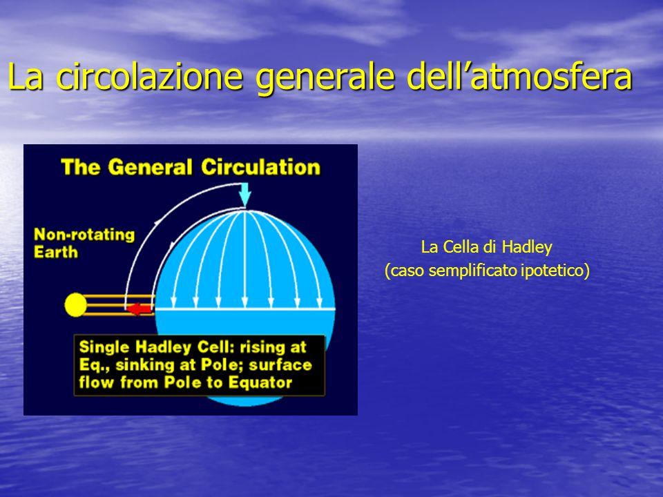 La circolazione generale dellatmosfera La Cella di Hadley (caso semplificato ipotetico)